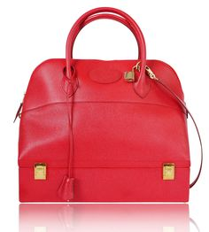 Hermes Vintage Red Courchevel Macpherson Bag - Measurements: W:34cm (13.4inches) x H:30cm (11.8 inches) x D:13.2cm (5.19 inches)  Hermes Macpherson handbag in Red color. Bottom is the trunk case for jewelries or watches. Very rare Hermes bag. This bag looks like Bolide, but not bolide. Definitely hard to find item anywhere in the world. One of the very rare, collector's item. Highly recommended.  Main color : RED  Material : Couchevel  Includes : Keys, lock and dust bag and shoulder...