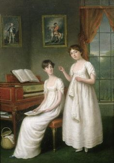 ladysmatter:  The Irwin Sisters by Robert Home Both Irwin girls are accomplished- one embroiders while the other reads, seated at a piano forte. The paintings on the walls are unusually detailed- Did they have high-ranking relatives in the Army and the Navy? In any case, seems Robert Home specialized in painting Accomplished Young Ladies of the British contingent in India.