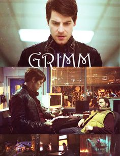 Grimm stylized font, with Nick and Monroe kicking back.