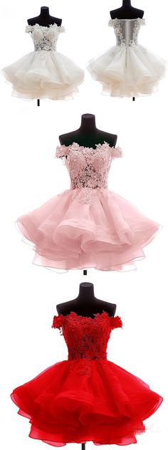 Simple Wedding Dress, Red/Pink Tulle Ruffles Homecoming Dress, Off Shoulder Appliques Short Prom Dress, Prom Gowns, Shop fit and flare dresses that match your bridal style featuring the latests trends. Find the perfect one for you! Pretty Homecoming Dresses, Hoco Dresses, Dance Dresses, Pretty Dresses, Beautiful Dresses, Formal Dresses, Dress Prom, Prom Gowns, 1950s Dresses