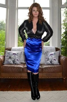 Old Lady in Satin Blouses Satin Pencil Skirt, Satin Skirt, Satin Dresses, Blouse And Skirt, Dress Skirt, Secretary Outfits, Hobble Skirt, Satin Bluse, Sexy Skirt