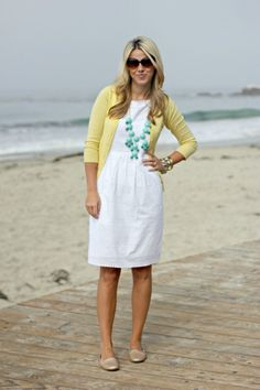 White dress, yellow sweater and cute blue necklace screams spring!