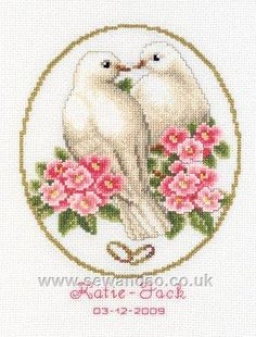 Doves of Love Wedding Sampler - Sew and So - Vervaco Cross Stitching, Cross Stitch Embroidery, Wedding Doves, Wedding Cross Stitch Patterns, Cross Stitch Landscape, Palestinian Embroidery, Cross Stitch Love, Bird Patterns, Le Point