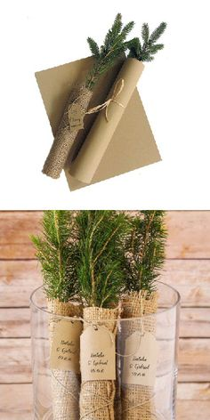 For a truly green wedding, there's nothing better than personalized evergreen tree seedling favors. It's a real tree seedling, individually wrapped in burlap bags, and finished with a complimentary personalized tag.