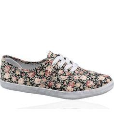 dark floral tennis shoe.