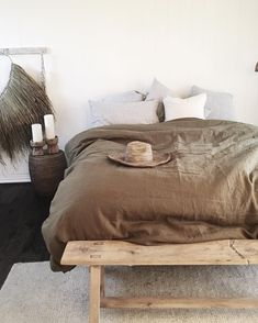 "322 Likes, 7 Comments - GREEDILULU (@greedilulu) on Instagram: ""Saturday sleep ins with olive and stripes #bedding #linen #duvet #olive #pillowcases #bluestipe…"""