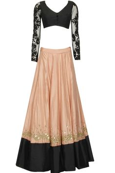 Peach and black colour block lehenga set available only at Pernia's Pop Up Shop.