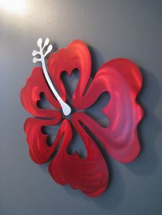 Love this Hibiscus Flower Metal Wall Art - so colorful and vibrant!