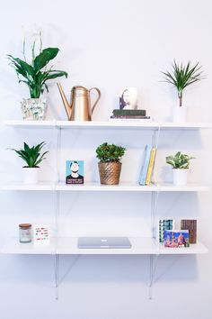 Bookshelf Desk with Plants for under $150. Ikea hacks. Bedroom desk.