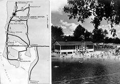 Florida Memory - Map to Weeki Wachee Springs and photo of the swimming area - Hernando County, Florida