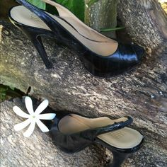 """PELLE MODA Stitched Leather Open Toe Pump Leather sole and lining, stitched details, and open toe design. 5""""heel with 1""""platform. Shoes are in excellent condition Pelle Moda Shoes"""