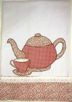 Wall kitchen clock Tea Set Coffee Clock Teapot and Teacups Tea Time Wall round. Sewing Appliques, Applique Patterns, Applique Quilts, Applique Designs, Quilt Patterns, Embroidery Designs, Sewing Patterns, Applique Towels, Patch Quilt