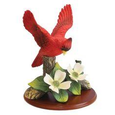 Cardinal Figurine with Flowers on Wood Base, Porcelain Home