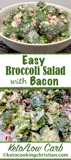 Easy Broccoli Salad with Bacon – Keto and Low Carb – foodie! – Easy Broccoli Salad with Bacon – Keto and Low Carb – foodie! Easy Broccoli Salad, Broccoli Cauliflower Salad, Broccoli Ideas, Keto Cauliflower, Broccoli Salad Recipes, Low Carb Appetizers, Appetizer Recipes, Appetizer Dessert, Soup Appetizers