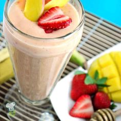 Mango Smoothie : Try this mango smoothie for a quick breakfast or healthy snack. Mango, banana and strawberries make this fruit smoothie sweet and delicious.
