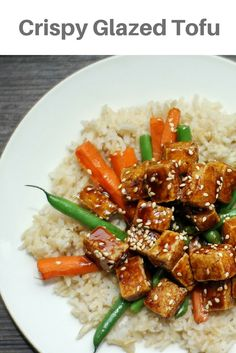 Crispy Sesame Tofu, so delicious you can't even tell it's tofu! The sauce is so delicious and the tofu is so crispy!