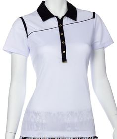 Need new golf apparel? EP New York  takes pride in offering women's golf clothing for all shapes and sizes. Buy this GOLD STANDARD (White Multi SPECIAL EP New York Ladies & PlusSize S/S Angled Piping Golf PoloShirts today from Lori's Golf Shoppe!
