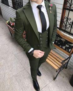 Prom Suit Outfits, Terno Slim, Style Costume Homme, Wedding Dress Men, Wedding Groom, Men Wedding Suits, Green Wedding Suit, Cat Wedding, Dress Suits For Men