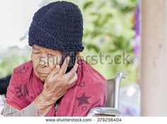 old woman  call phone
