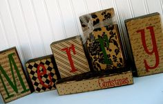 Double Sided Wood Blocks... Give Thanks & Merry by doubledutydecor