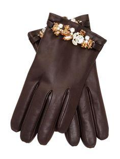 Portolano Embellished Leather Gloves.