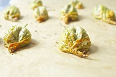 Baked Squash Blossoms with Pine Nut Cheese