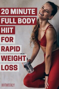 Smash your weight loss goals with this 20 minute quick and simple, home workout routine for rapid fat loss. All you need is a weight of some kind such as a dumbbell or kettlebell and the motivation to just get it done. It's quick, it's fun and will get you results. Hiit Workouts With Weights, Interval Training Workouts, Full Body Hiit Workout, Hiit Workout At Home, 20 Minute Workout, Gym Workout Tips, High Intensity Interval Training, Body Workouts, Workout Plans