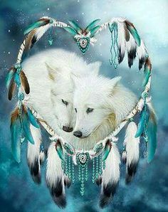 Never underestimate the Tenderness Affection Loyalty Love Beating within the Heart Of A Wolf. Heart Of A Wolf prose. This artwork of white wolf mates within a heart-shaped dream catcher is from the Dream Catcher Collection Beautiful Creatures, Animals Beautiful, Cute Animals, Wolf Spirit, Spirit Animal, Native Art, Native American Art, Wolf Mates, Wolf Pictures