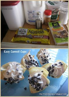 Easy Cannoli Cups (Won-Ton Wrappers)