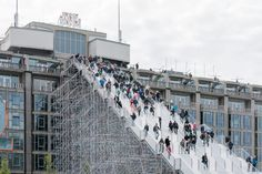 The scaffolding structure, assembled by Dutch Steigers, will take visitors 29 metres up to the roof top of the Groot Handelsgebouw until the 12th June. A viewing platform offers stunning views of the city's skyline whilst the iconic Kriterion Cinema, o...