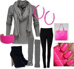 """grey & pink"" by teresajohnson-1 on Polyvore"