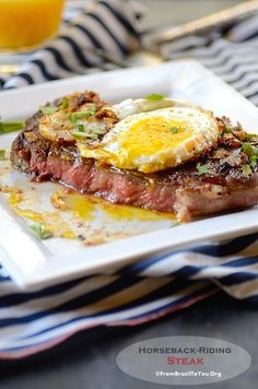 à Cavalo (Horseback-Riding Steak) Horseback-Riding Steak (Bife `a Cavalo) -- The quickest and most easy-to-prepare Steak!Horseback-Riding Steak (Bife `a Cavalo) -- The quickest and most easy-to-prepare Steak! Steak Recipes, Egg Recipes, Paleo Recipes, Cooking Recipes, Easy Cooking, Beef Steak, Fried Steak, Steak And Eggs, How To Cook Steak