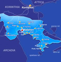 Nafplion, Map of Greece: Map of Nafplion and other Peloponnese Greece maps