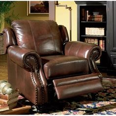Tri-tone Lazy Boy Style Recliner Chair in Brown Top Grain Leatherraditional in style, elegant in design, the Coaster Furniture Leather Recliner possesses an inherent sophistication.
