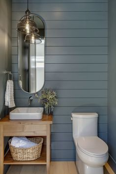 Teal Farmhouse Powder Room Chic Teal Modern Famhouse style powder room, by Trickle Creek Custom Homes
