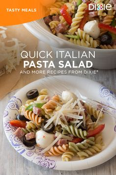 This quick and flavorful pasta salad is filled with lots of goodies like salami, black olives and fresh mozzarella balls. Get the recipe now.