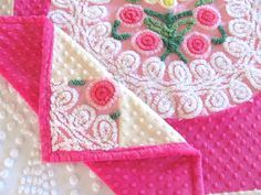Hot pink chenille baby girl quilt, PINK CUPCAKE, 39 X 42 inches, vintage chenille heirloom shabby cottage chic blanket, baby girl blanket