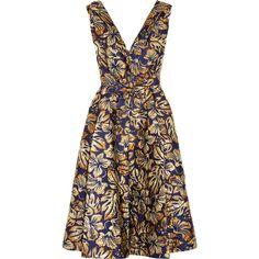 Prada Floral-jacquard midi dress (€895) ❤ liked on Polyvore featuring dresses, prada, jacquard dress, floral print midi dress, floral pattern dress, print dresses and brown midi dress