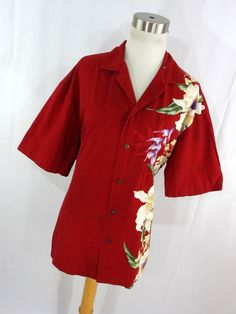 Vintage Hawaiian Aloha Shirt Womens L Large Red Button Down Front Floral Flower S/S KY's Made In Hawaii Classic R2 by AmazingTasteVintage on Etsy