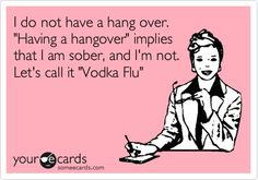 I do not have a hang over. 'Having a hangover' implies that I am sober, and I'm not. Let's call it 'Vodka Flu'.