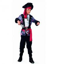 Disfraz de Pirata Corsario Deluxe para niño. Alta calidad, hecho en España. Disponible en varias tallas. Incluye chaqueta con camisa, pantalón, fajín con cinturón y sombrero. Trabuco No incluido, podrás encontrarlo en nuestra sección de Complementos,