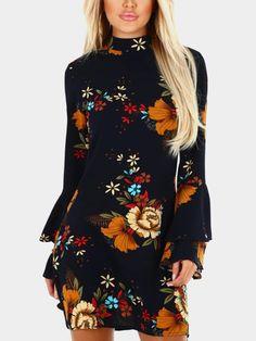 531519cb Navy Random Floral Print Perkins Collar Flared Sleeves Dress - US$12.95