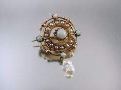 Antique Victorian 10k gold opal seed pearl brooch pin (395.00 USD) by SundayandSunday