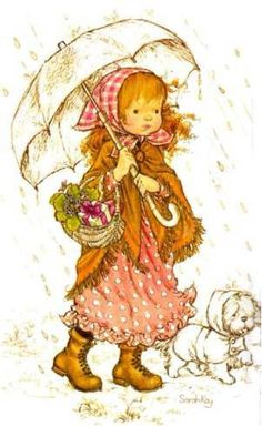 Sientje-and-Co: Sarah Kay, Holly Hobbie y Petticoat señorita Sarah Key, Holly Hobbie, Sarah Kay Imagenes, Mary May, Walking In The Rain, Creative Pictures, Australian Artists, Illustrations, Copics