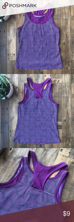 """Reebok athletic workout top, Size Small Reebok workout tank features a purple and black patterned design and a built-in shelf bra (no padding).   . - ✨GREAT CONDITION✨, no signs of wear .  - Size: SMALL - Fabric: 94% cotton, 6% spandex  - Measurement: 15"""" pit to pit, 23"""" shoulder to hem length Reebok Other"""