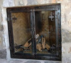Centuries Ago Iron Fireplace Doors - for our outdated fireplace ...