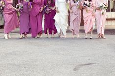bridesmaids in different shades