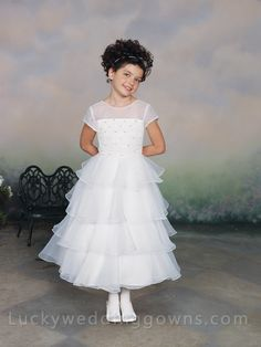 Short Sleeves  Flower Girl Dress with Tiered Ruffled Skirt