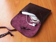 violet leather purse by klerovski