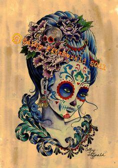 A4 Cardstock - Dia de los Muertos Day of the Dead Marie Antoinette Inspired Tattoo Girl - Print. $12.00, via Etsy.